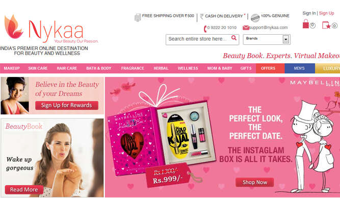 nykaa.com screeshot
