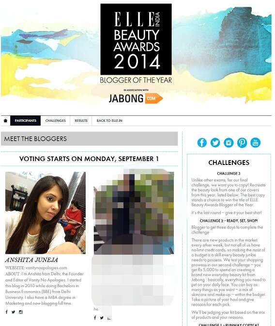 ELLE Bloggers Award 2014 anshita juneja top 5 fashion bloggers in India