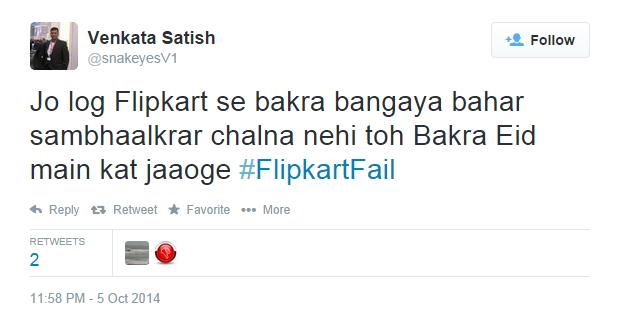 Venkata Satish on Tweet FlipkartFail