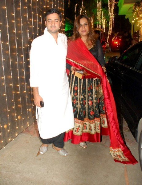 Director Siddharth Anand with his wife at Shiilpa Shetty's party