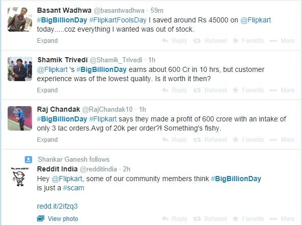 Flipkart BigBillionDay Flopkart Tweets