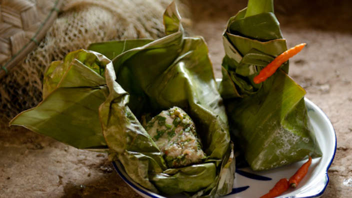 chicken in banana leaves