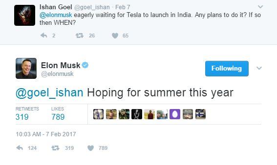 tesla comes to india tweet