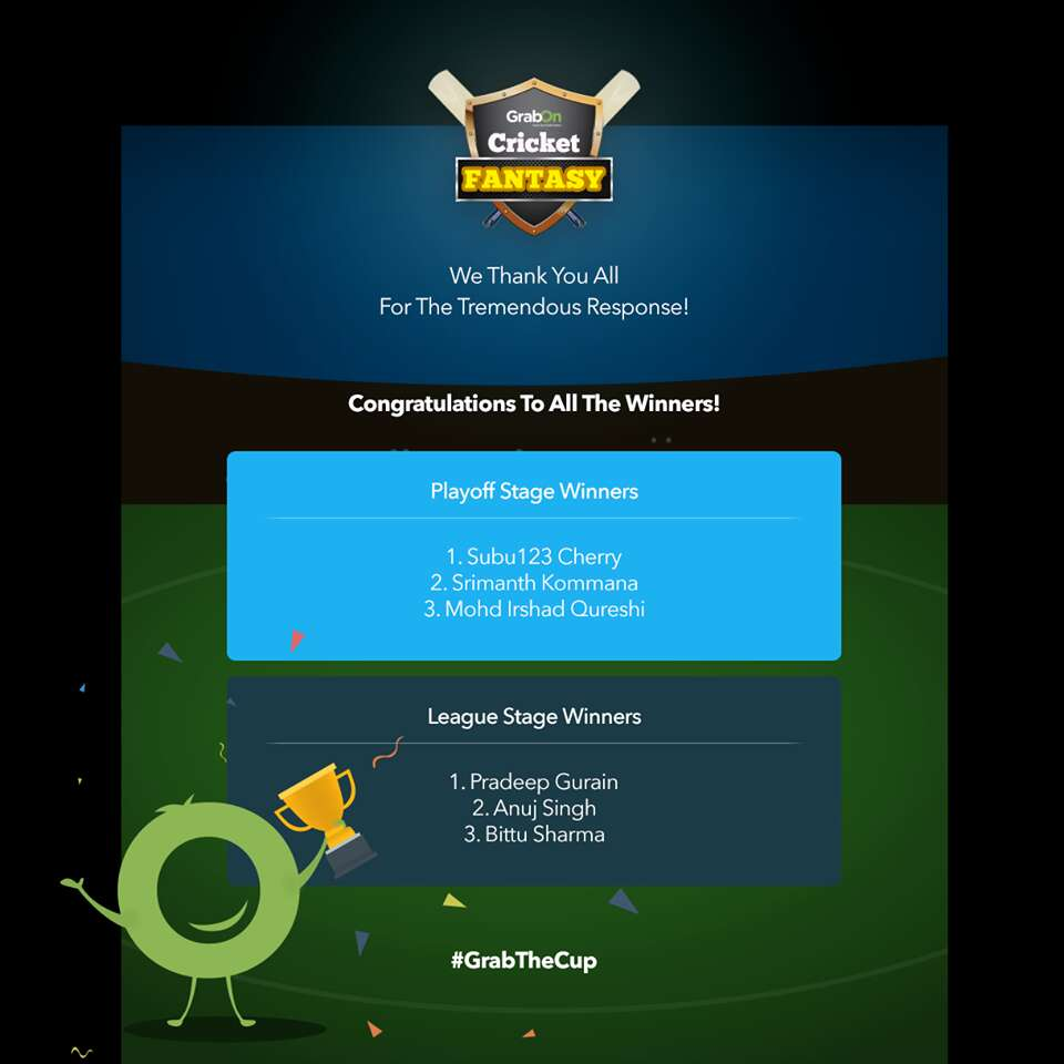 grabon cricket fantasy daily winners
