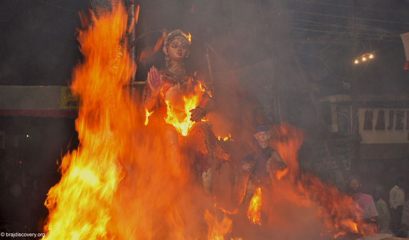 holi celebration in mathura holika-dahan