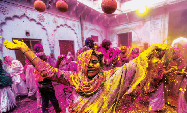 holi celebration in mathura widows holi
