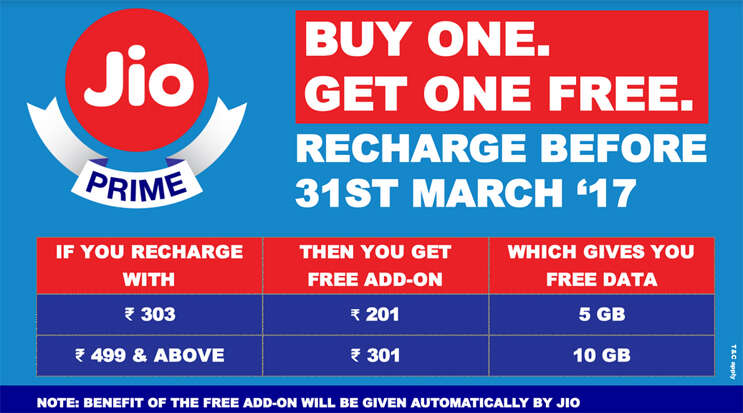 jio recharge buy one get one