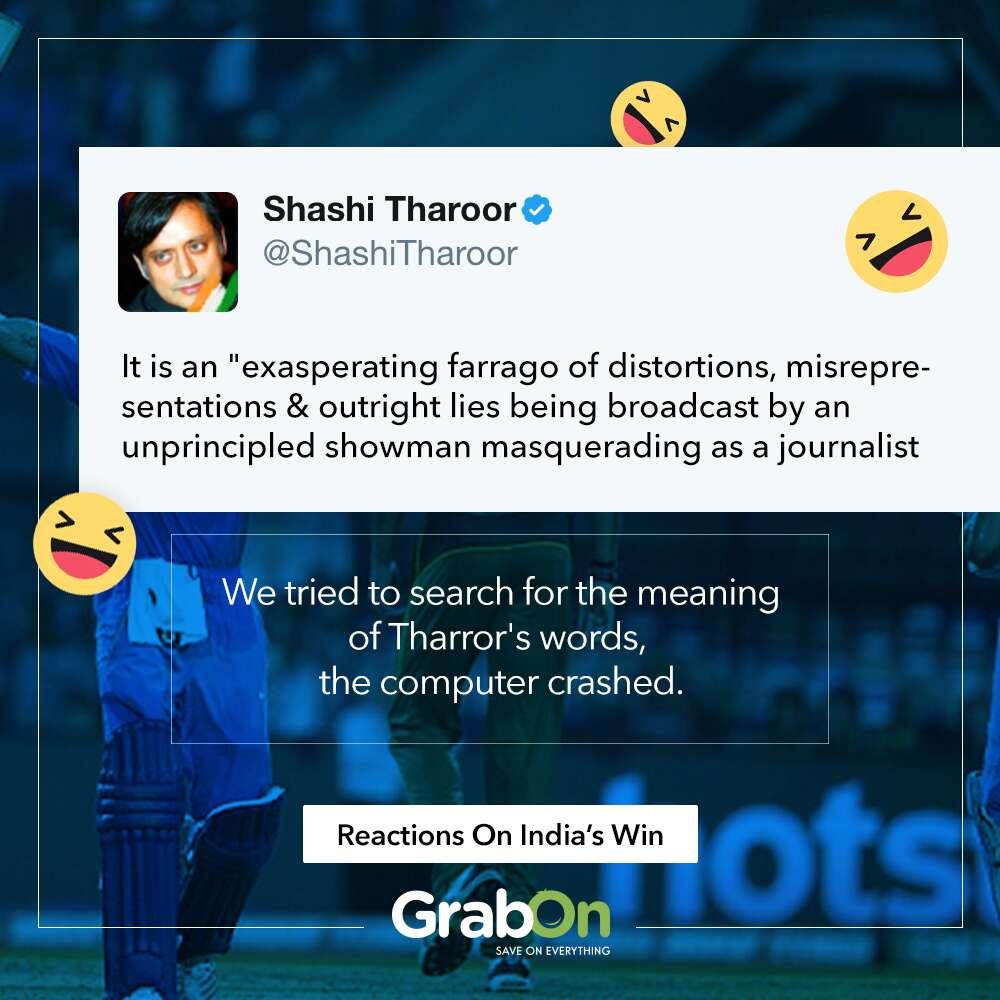 ind beats pak reactions tharoor