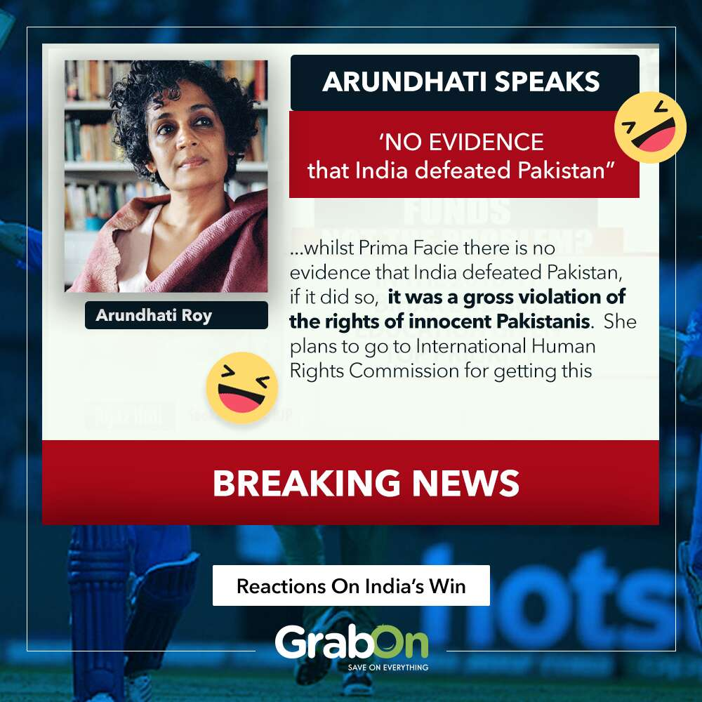 ind beats pakistan reactions Arundhati