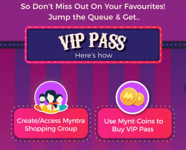 myntra end of reason sale vip pass