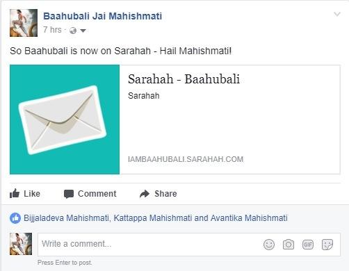 Bahubali on Sarahah