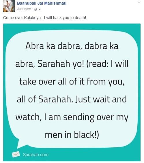 kalakeya sarahah dialog