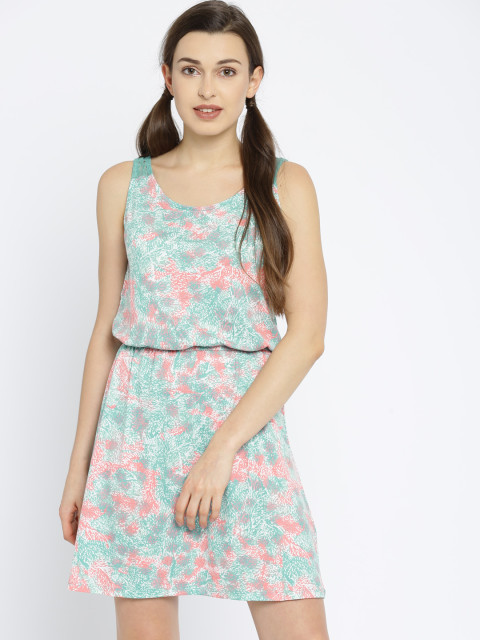 myntra fashion sale vero moda green white flare dress