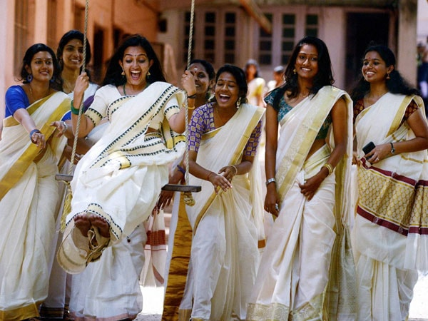 Woman playing games in Onam